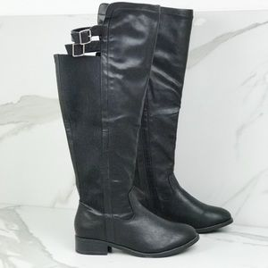 Torrid Black Riding Calf High Boots Faux Leather